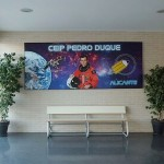A series of three murals designed for the entry hall of a school named after the astronaut Pedro Duque. Photos courtesy of NASA & ESA. // 